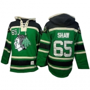 Andrew Shaw Chicago Blackhawks Old Time Hockey Men's Authentic St. Patrick's Day McNary Lace Hoodie Jersey - Green