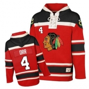 Bobby Orr Chicago Blackhawks Old Time Hockey Men's Authentic Sawyer Hooded Sweatshirt Jersey - Red