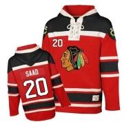 Brandon Saad Chicago Blackhawks Old Time Hockey Men's Authentic Sawyer Hooded Sweatshirt Jersey - Red