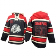 Corey Crawford Chicago Blackhawks Old Time Hockey Men's Authentic Sawyer Hooded Sweatshirt Jersey - Black