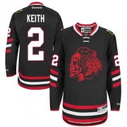 Duncan Keith Chicago Blackhawks Reebok Men's Authentic Red Skull 2014 Stadium Series Jersey - Black