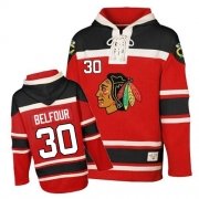 ED Belfour Chicago Blackhawks Old Time Hockey Men's Authentic Sawyer Hooded Sweatshirt Jersey - Red