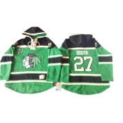 Johnny Oduya Chicago Blackhawks Old Time Hockey Men's Premier St. Patrick's Day McNary Lace Hoodie Jersey - Green