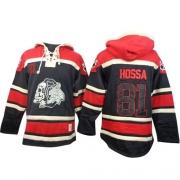 Marian Hossa Chicago Blackhawks Old Time Hockey Men's Authentic Sawyer Hooded Sweatshirt Jersey - Black