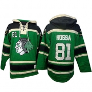 Marian Hossa Chicago Blackhawks Old Time Hockey Men's Authentic St. Patrick's Day McNary Lace Hoodie Jersey - Green
