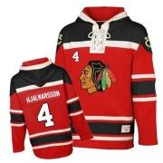 Niklas Hjalmarsson Chicago Blackhawks Old Time Hockey Men's Authentic Sawyer Hooded Sweatshirt Jersey - Red