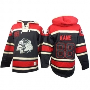 Patrick Kane Chicago Blackhawks Old Time Hockey Men's Authentic Sawyer Hooded Sweatshirt Jersey - Black