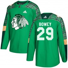 Madison Bowey Chicago Blackhawks Adidas Youth Authentic St. Patrick's Day Practice Jersey - Green
