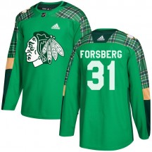 Anton Forsberg Chicago Blackhawks Adidas Youth Authentic St. Patrick's Day Practice Jersey - Green