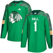 Glenn Hall Chicago Blackhawks Adidas Youth Authentic St. Patrick's Day Practice Jersey - Green