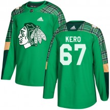 Tanner Kero Chicago Blackhawks Adidas Youth Authentic St. Patrick's Day Practice Jersey - Green