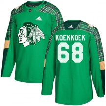 Slater Koekkoek Chicago Blackhawks Adidas Youth Authentic St. Patrick's Day Practice Jersey - Green