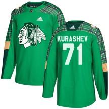 Philipp Kurashev Chicago Blackhawks Adidas Youth Authentic ized St. Patrick's Day Practice Jersey - Green