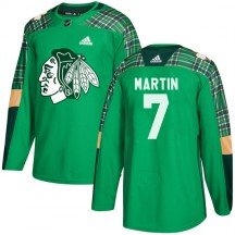 Pit Martin Chicago Blackhawks Adidas Youth Authentic St. Patrick's Day Practice Jersey - Green