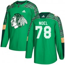 Nathan Noel Chicago Blackhawks Adidas Youth Authentic St. Patrick's Day Practice Jersey - Green