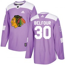 ED Belfour Chicago Blackhawks Adidas Youth Authentic Fights Cancer Practice Jersey - Purple