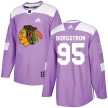 Henrik Borgstrom Chicago Blackhawks Adidas Youth Authentic Fights Cancer Practice Jersey - Purple