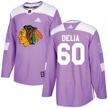 Collin Delia Chicago Blackhawks Adidas Youth Authentic Fights Cancer Practice Jersey - Purple