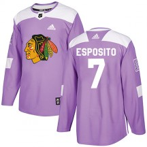 Phil Esposito Chicago Blackhawks Adidas Youth Authentic Fights Cancer Practice Jersey - Purple