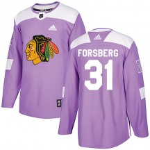 Anton Forsberg Chicago Blackhawks Adidas Youth Authentic Fights Cancer Practice Jersey - Purple