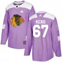Tanner Kero Chicago Blackhawks Adidas Youth Authentic Fights Cancer Practice Jersey - Purple
