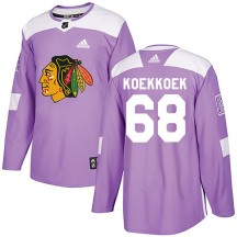 Slater Koekkoek Chicago Blackhawks Adidas Youth Authentic Fights Cancer Practice Jersey - Purple