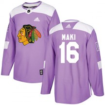 Chico Maki Chicago Blackhawks Adidas Youth Authentic Fights Cancer Practice Jersey - Purple