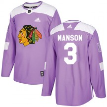 Dave Manson Chicago Blackhawks Adidas Youth Authentic Fights Cancer Practice Jersey - Purple
