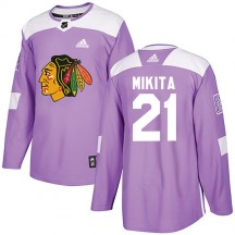 Stan Mikita Chicago Blackhawks Adidas Youth Authentic Fights Cancer Practice Jersey - Purple