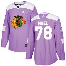Nathan Noel Chicago Blackhawks Adidas Youth Authentic Fights Cancer Practice Jersey - Purple