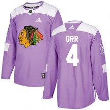 Bobby Orr Chicago Blackhawks Adidas Youth Authentic Fights Cancer Practice Jersey - Purple