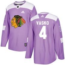 Elmer Vasko Chicago Blackhawks Adidas Youth Authentic Fights Cancer Practice Jersey - Purple