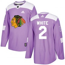 Bill White Chicago Blackhawks Adidas Youth Authentic Fights Cancer Practice Jersey - Purple