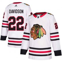 Brandon Davidson Chicago Blackhawks Adidas Youth Authentic Away Jersey - White