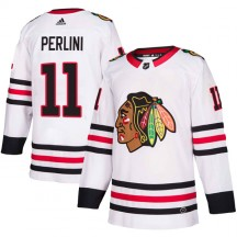 Brendan Perlini Chicago Blackhawks Adidas Youth Authentic Away Jersey - White