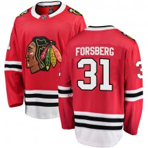 Anton Forsberg Chicago Blackhawks Fanatics Branded Youth Breakaway Home Jersey - Red