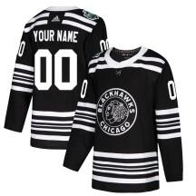 Custom Chicago Blackhawks Adidas Men's Authentic 2019 Winter Classic Jersey - Black