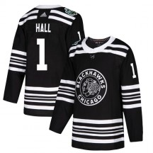 Glenn Hall Chicago Blackhawks Adidas Men's Authentic 2019 Winter Classic Jersey - Black