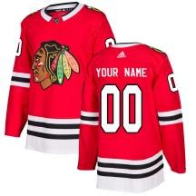 Custom Chicago Blackhawks Adidas Men's Authentic Home Jersey - Red