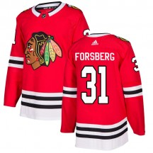 Anton Forsberg Chicago Blackhawks Adidas Men's Authentic Home Jersey - Red