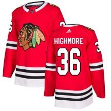 Matthew Highmore Chicago Blackhawks Adidas Men's Authentic Home Jersey - Red