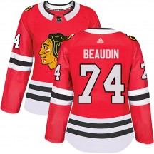 Nicolas Beaudin Chicago Blackhawks Adidas Women's Authentic ized Home Jersey - Red