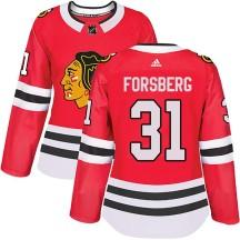 Anton Forsberg Chicago Blackhawks Adidas Women's Authentic Home Jersey - Red