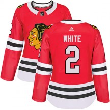 Bill White Chicago Blackhawks Adidas Women's Authentic Red Home Jersey - White