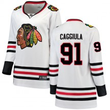Drake Caggiula Chicago Blackhawks Fanatics Branded Women's Breakaway Away Jersey - White