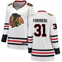 Anton Forsberg Chicago Blackhawks Fanatics Branded Women's Breakaway Away Jersey - White
