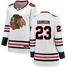 Stu Grimson Chicago Blackhawks Fanatics Branded Women's Breakaway Away Jersey - White