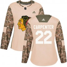 Ryan Carpenter Chicago Blackhawks Adidas Women's Authentic Veterans Day Practice Jersey - Camo