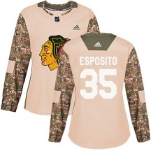 Tony Esposito Chicago Blackhawks Adidas Women's Authentic Veterans Day Practice Jersey - Camo