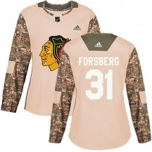 Anton Forsberg Chicago Blackhawks Adidas Women's Authentic Veterans Day Practice Jersey - Camo